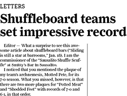 Shuffleboard letter to editor